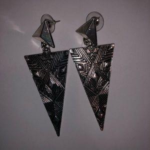 Jewelry: Large Geometric Pattern Triangle Earrings